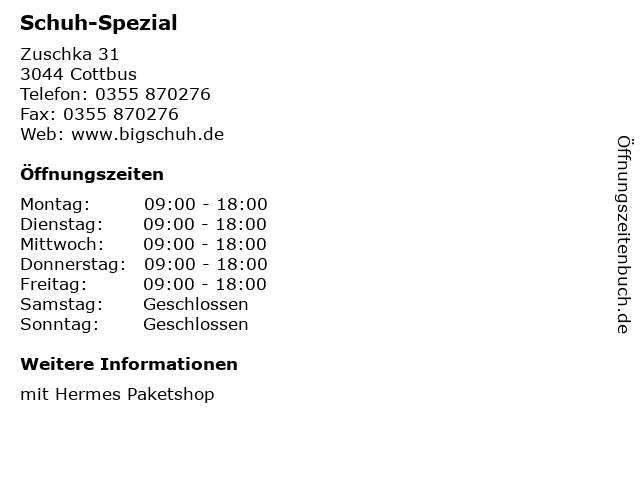 Schuh-Spezial in Cottbus: Adresse und Öffnungszeiten