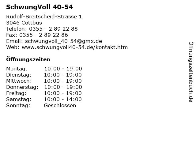 SchwungVoll 40-54 in Cottbus: Adresse und Öffnungszeiten