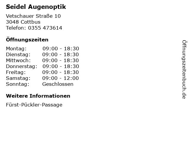 Seidel Augenoptik in Cottbus: Adresse und Öffnungszeiten