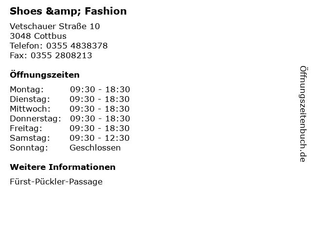 Shoes & Fashion in Cottbus: Adresse und Öffnungszeiten