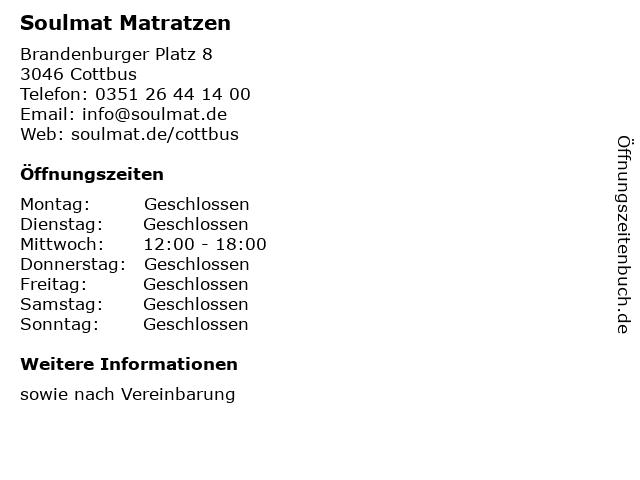Soulmat Matratzen in Cottbus: Adresse und Öffnungszeiten
