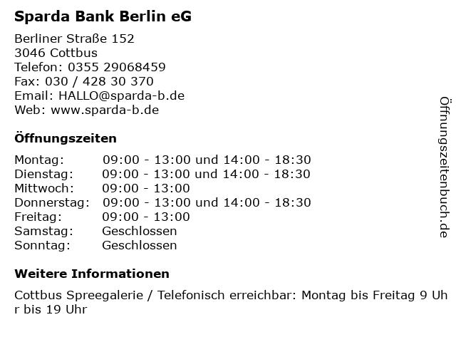 Sparda Bank Berlin eG in Cottbus: Adresse und Öffnungszeiten