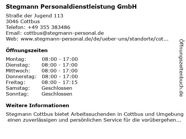 Stegmann Personaldienstleistung GmbH in Cottbus: Adresse und Öffnungszeiten