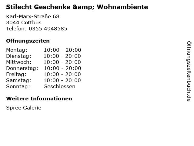 Stilecht Geschenke & Wohnambiente in Cottbus: Adresse und Öffnungszeiten