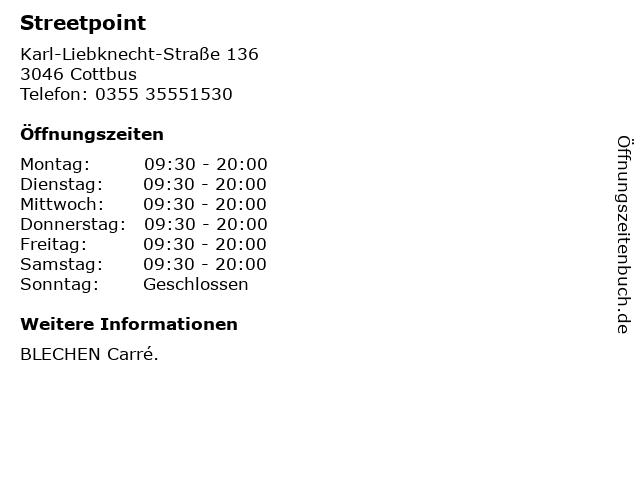 Streetpoint in Cottbus: Adresse und Öffnungszeiten
