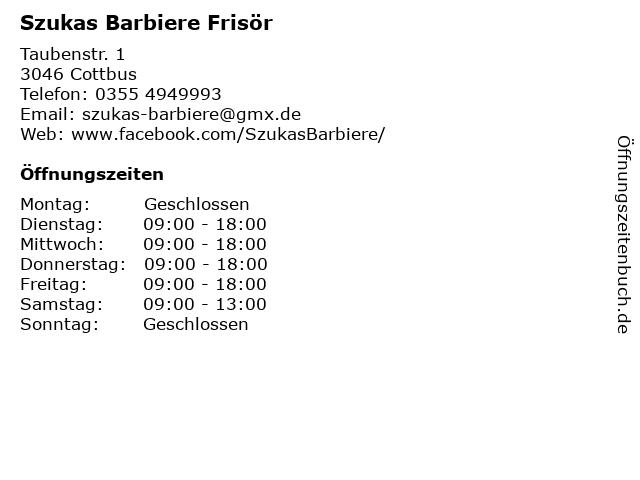 Szukas Barbiere Frisör in Cottbus: Adresse und Öffnungszeiten
