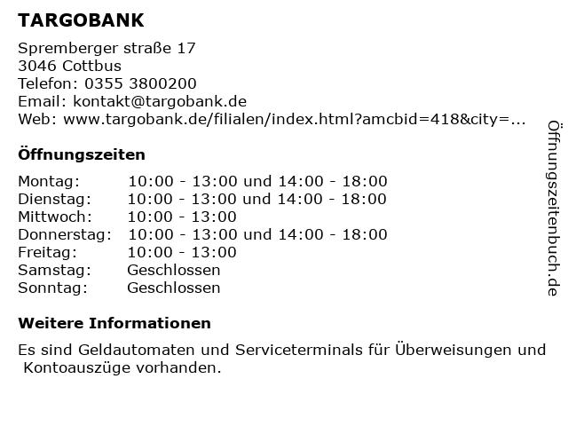 TARGOBANK in Cottbus: Adresse und Öffnungszeiten