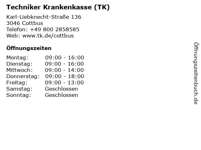 Techniker Krankenkasse in Cottbus: Adresse und Öffnungszeiten