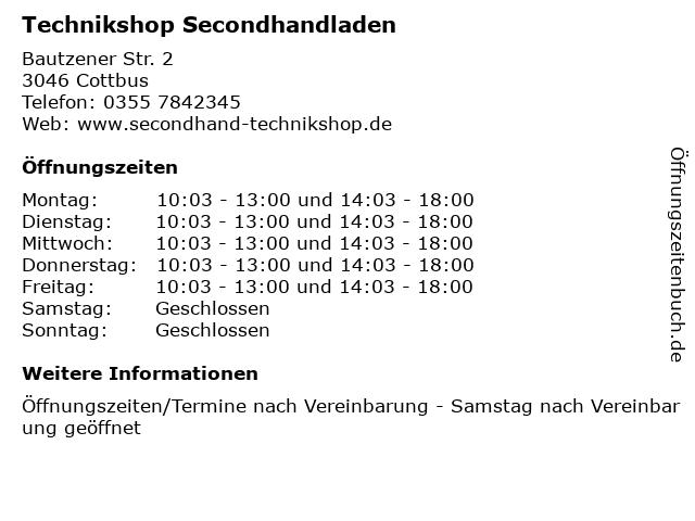 Technikshop Secondhandladen in Cottbus: Adresse und Öffnungszeiten