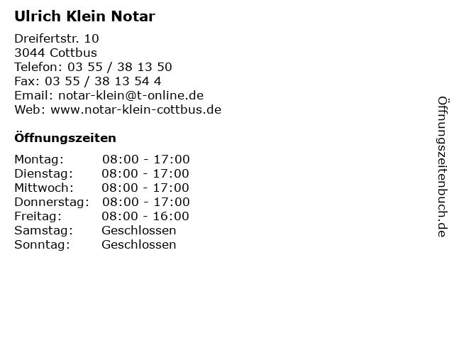 Ulrich Klein Notar in Cottbus: Adresse und Öffnungszeiten