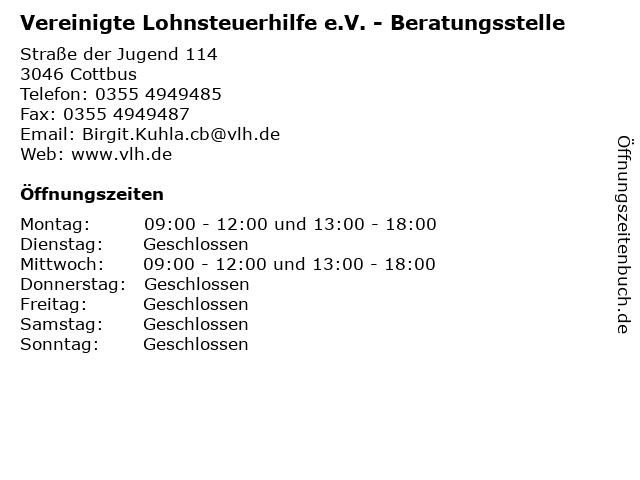 Vereinigte Lohnsteuerhilfe e.V. - Beratungsstelle in Cottbus: Adresse und Öffnungszeiten