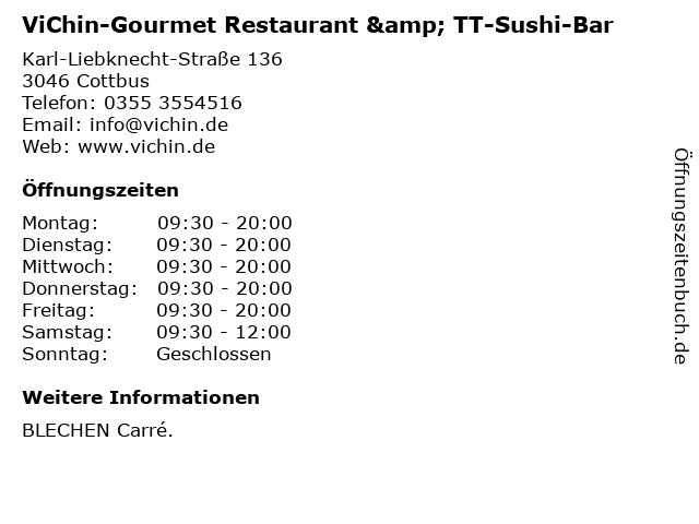 ViChin-Gourmet Restaurant & TT-Sushi-Bar in Cottbus: Adresse und Öffnungszeiten