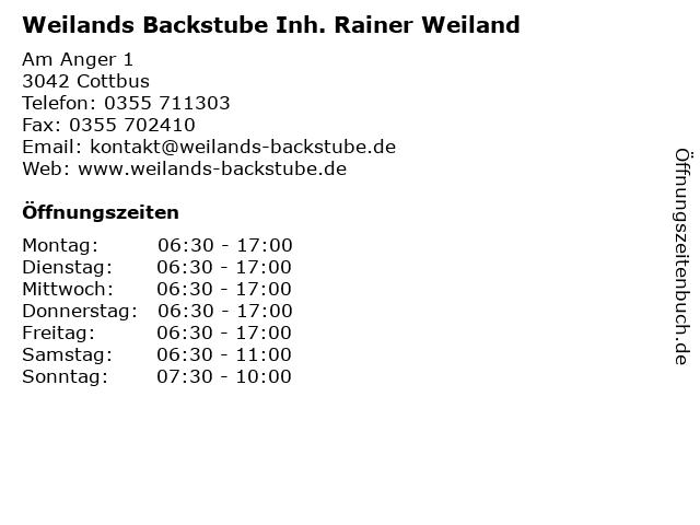 Weilands Backstube Inh. Rainer Weiland in Cottbus: Adresse und Öffnungszeiten