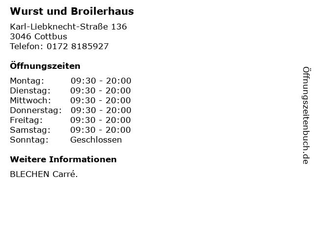 Wurst und Broilerhaus in Cottbus: Adresse und Öffnungszeiten