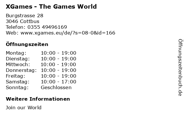 XGames - The Games World in Cottbus: Adresse und Öffnungszeiten