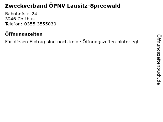 Zweckverband ÖPNV Lausitz-Spreewald in Cottbus: Adresse und Öffnungszeiten