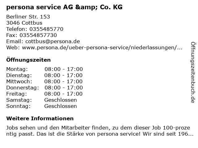 persona service AG & Co. KG in Cottbus: Adresse und Öffnungszeiten