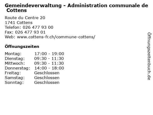 Gemeindeverwaltung - Administration communale de Cottens in Cottens: Adresse und Öffnungszeiten