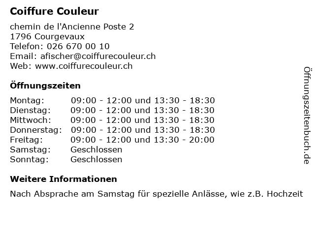 Coiffure Couleur in Courgevaux: Adresse und Öffnungszeiten