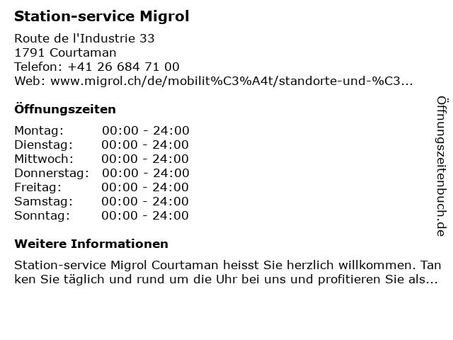 Station Migrol in Courtaman: Adresse und Öffnungszeiten