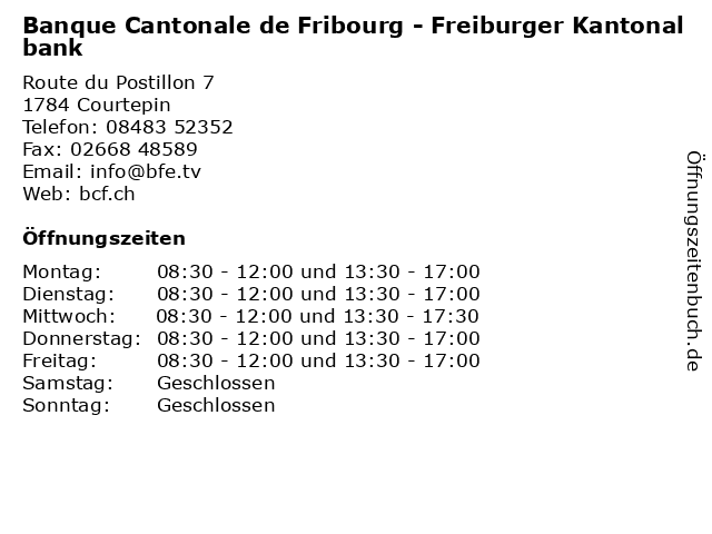 Banque Cantonale de Fribourg - Freiburger Kantonalbank in Courtepin: Adresse und Öffnungszeiten