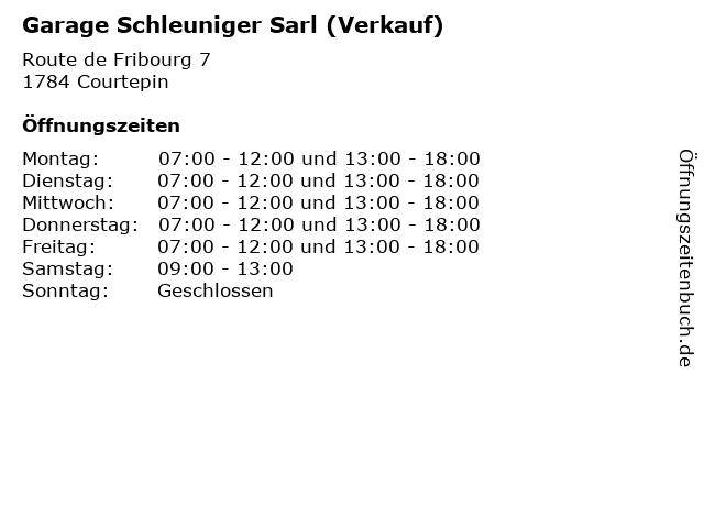 Garage Schleuniger Sarl (Verkauf) in Courtepin: Adresse und Öffnungszeiten