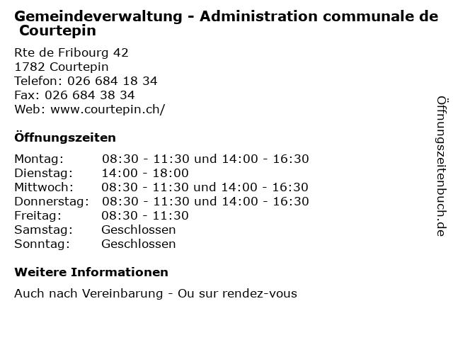 Gemeindeverwaltung - Administration communale de Courtepin in Courtepin: Adresse und Öffnungszeiten