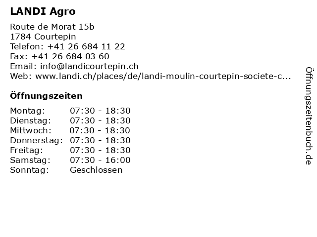 LANDI Agro in Courtepin: Adresse und Öffnungszeiten