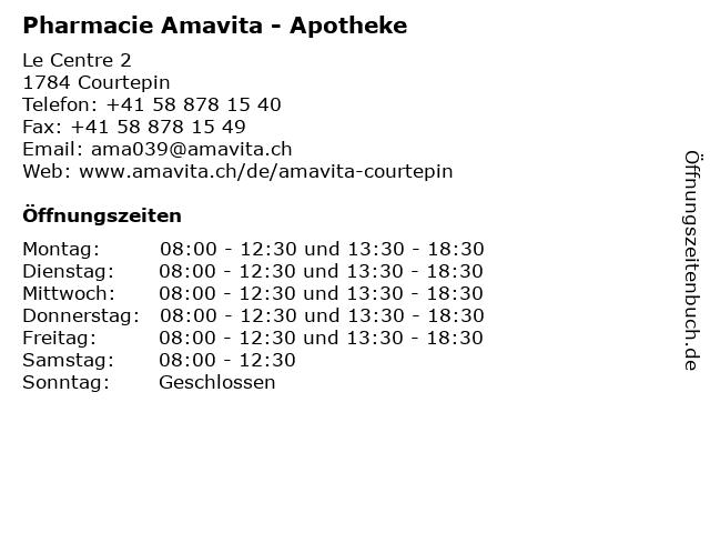 Pharmacie Amavita - Apotheke in Courtepin: Adresse und Öffnungszeiten
