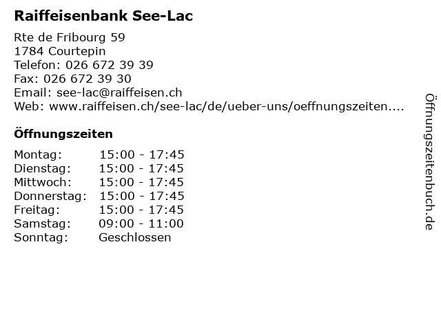 Raiffeisenbank See-Lac in Courtepin: Adresse und Öffnungszeiten