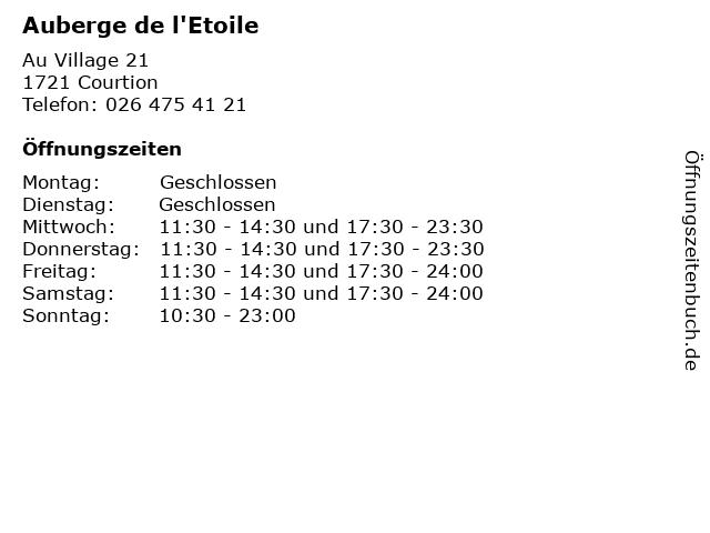 Auberge de l'Etoile in Courtion: Adresse und Öffnungszeiten