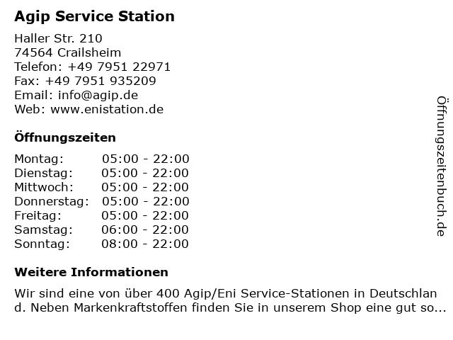 Agip Service Station in Crailsheim: Adresse und Öffnungszeiten