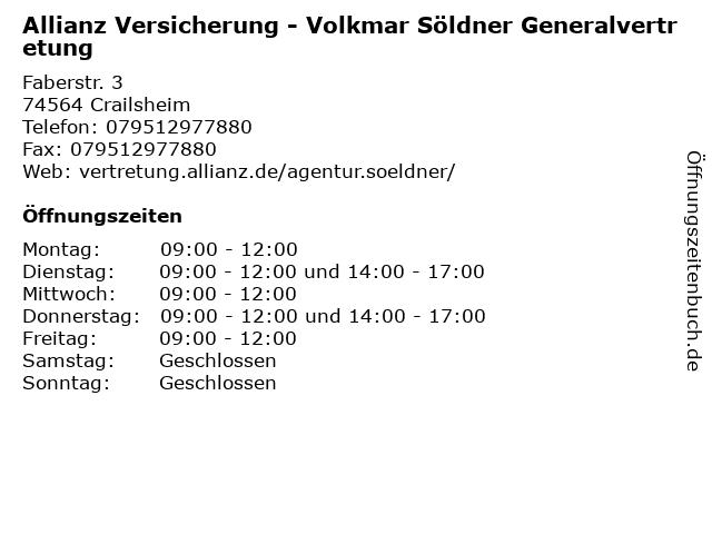 Allianz Versicherung - Volkmar Söldner Generalvertretung in Crailsheim: Adresse und Öffnungszeiten