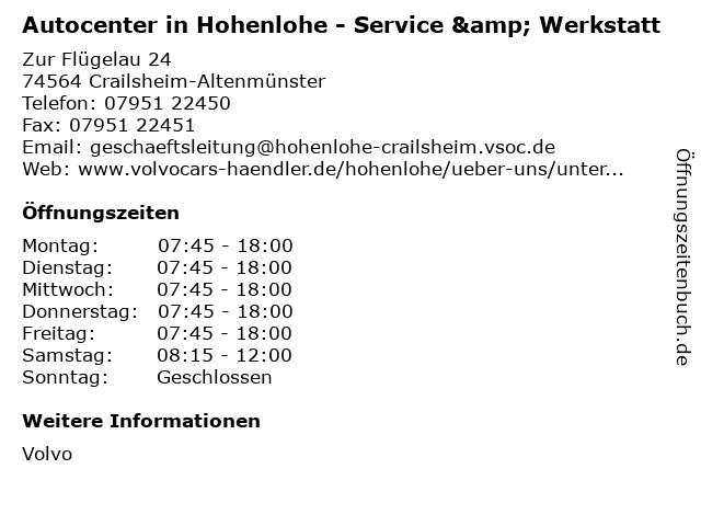 Autocenter in Hohenlohe - Service & Werkstatt in Crailsheim-Altenmünster: Adresse und Öffnungszeiten