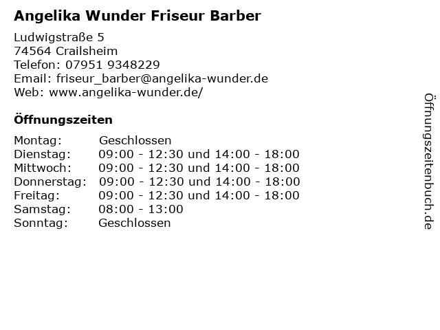 Angelika Wunder Friseur Barber in Crailsheim: Adresse und Öffnungszeiten