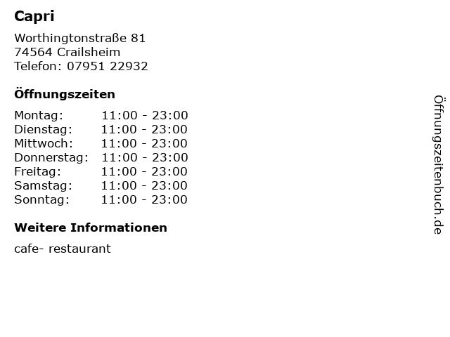 Capri in Crailsheim: Adresse und Öffnungszeiten