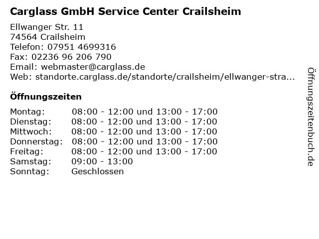 Carglass GmbH Service Center Crailsheim in Crailsheim: Adresse und Öffnungszeiten
