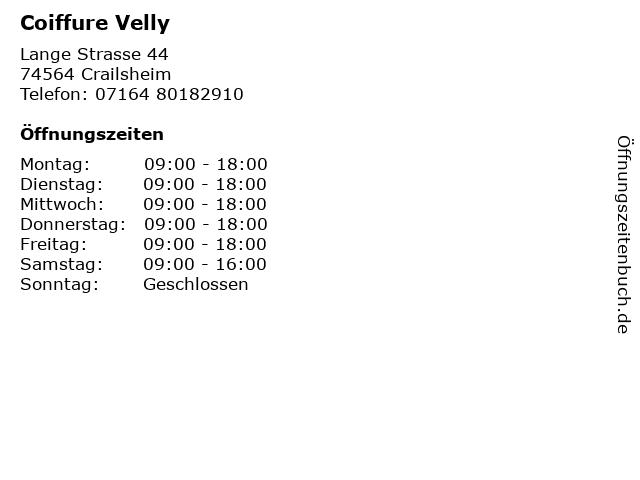 Coiffure Velly in Crailsheim: Adresse und Öffnungszeiten