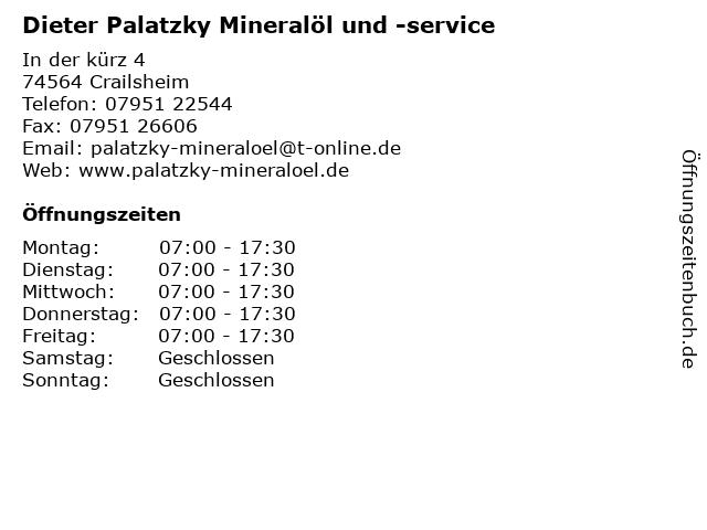 Palatzky Mineralölhandel und -service in Crailsheim: Adresse und Öffnungszeiten