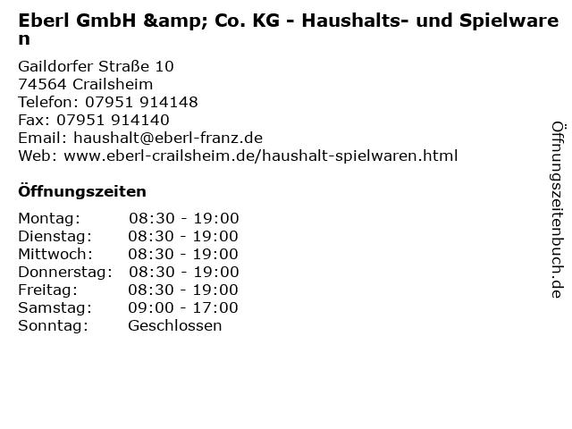 Eberl GmbH & Co. KG - Haushalts- und Spielwaren in Crailsheim: Adresse und Öffnungszeiten