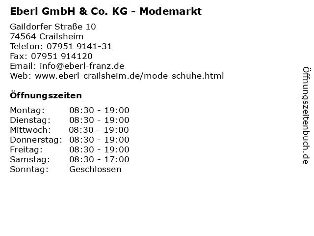 Eberl GmbH & Co. KG - Modemarkt in Crailsheim: Adresse und Öffnungszeiten