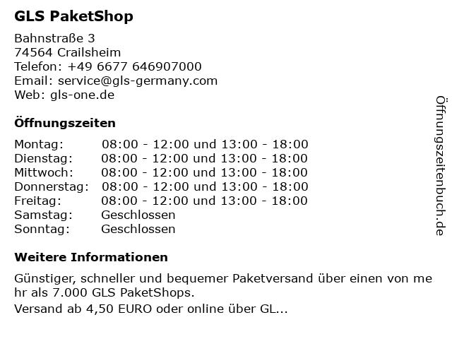 GLS PaketShop in Crailsheim: Adresse und Öffnungszeiten