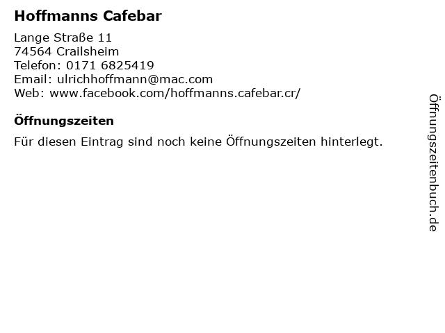 Hoffmanns Cafebar in Crailsheim: Adresse und Öffnungszeiten