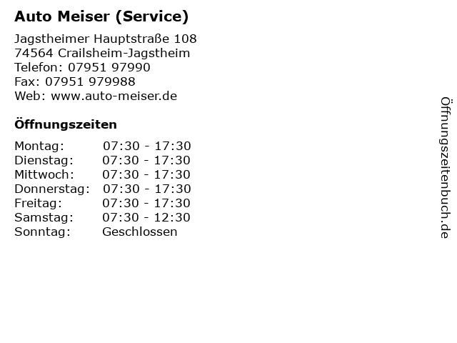 Auto Meiser (Service) in Crailsheim-Jagstheim: Adresse und Öffnungszeiten
