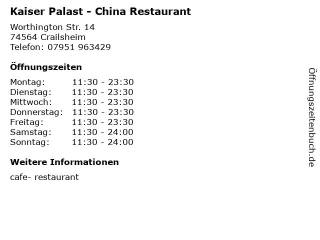 Kaiser Palast - China Restaurant in Crailsheim: Adresse und Öffnungszeiten