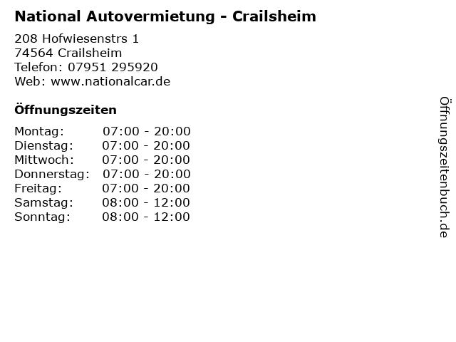 National Autovermietung - Crailsheim in Crailsheim: Adresse und Öffnungszeiten