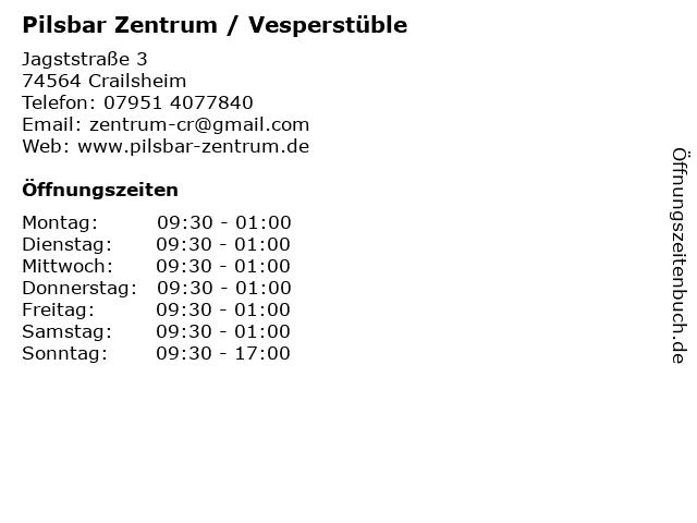 Pilsbar Zentrum / Vesperstüble in Crailsheim: Adresse und Öffnungszeiten