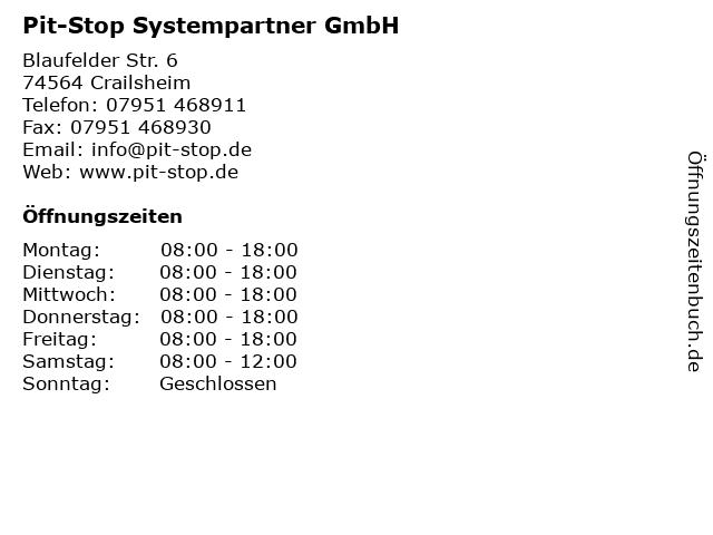 Pit-Stop Systempartner GmbH in Crailsheim: Adresse und Öffnungszeiten