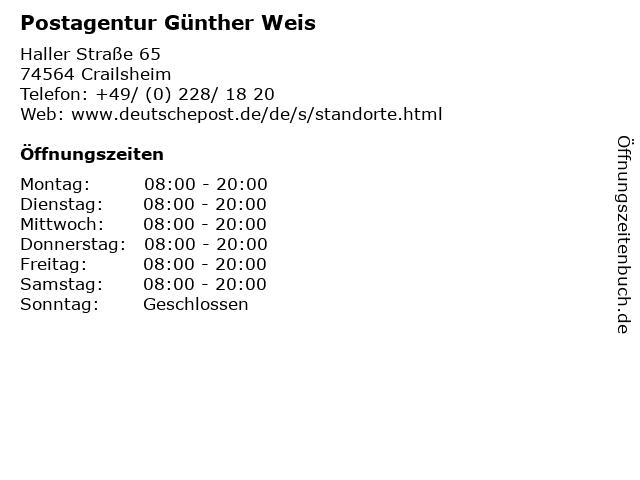 Postagentur Günther Weis in Crailsheim: Adresse und Öffnungszeiten