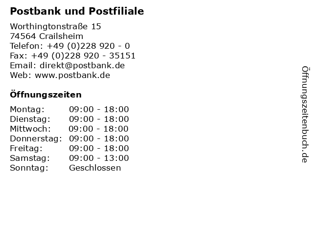 Postbank und Postfiliale in Crailsheim: Adresse und Öffnungszeiten